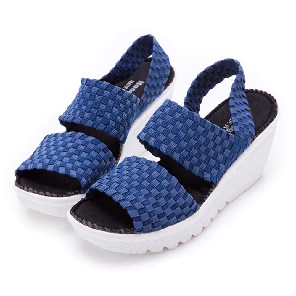 HongWa~正韓空運~寬版編織彈力布一字涼鞋~藍