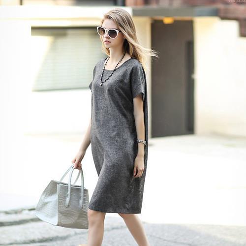 四葉幸運草~EF536A001~沉穩混色織紋側口袋圓領短袖洋裝