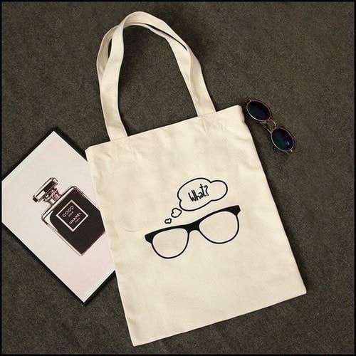 印花眼鏡手提單肩包帆布書包~SL28952~