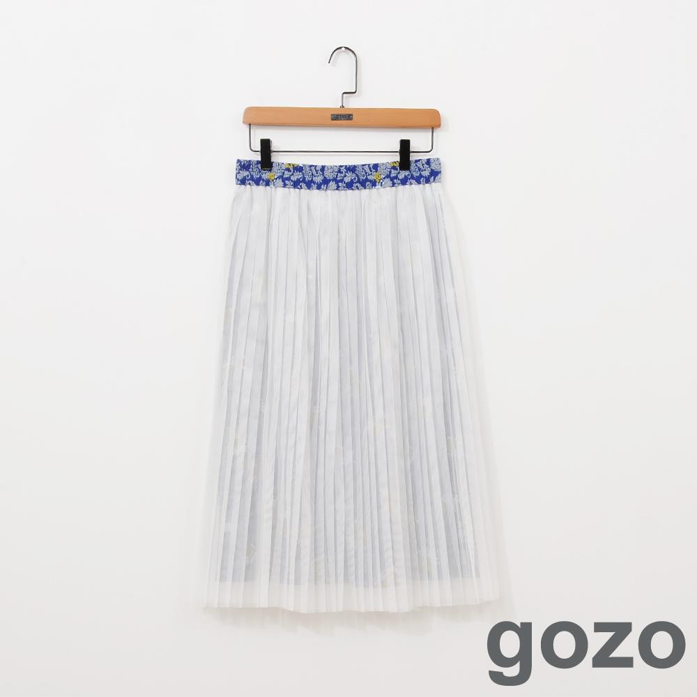 gozo 碎花百褶網紗長裙 ^(共3色^)