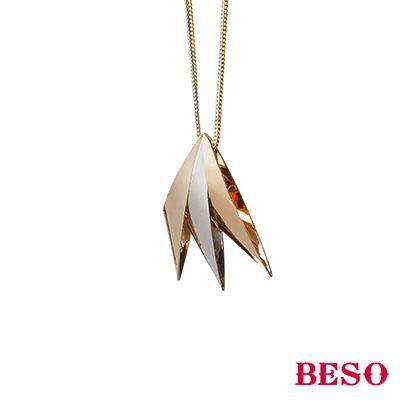 BESO◆ 核心 幾何雙色 項鍊~金色