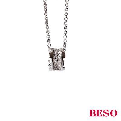BESO◆ 核心 款式圓形滿鑽 項鍊~銀色