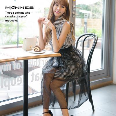 條紋無袖襯衫 透視網紗裙