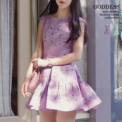 ~ 299 199~嘉蒂斯洋裝 甜美小碎花顯瘦傘狀連衣裙附綁帶~060830~2色