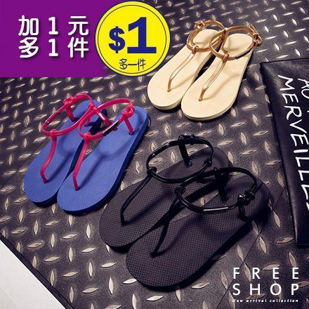 Free Shop~QFSMX9134~韓國風格 百搭款T型徽章巴西涼鞋夾趾平底坡跟羅馬鞋