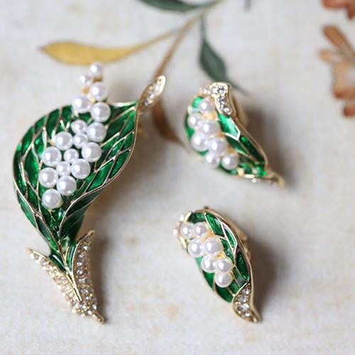 西洋古典1950s 珍珠綠葉胸針耳夾