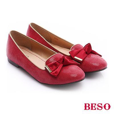 BESO◆極簡風格 真皮素面蝴蝶結飾樂福鞋~紅色