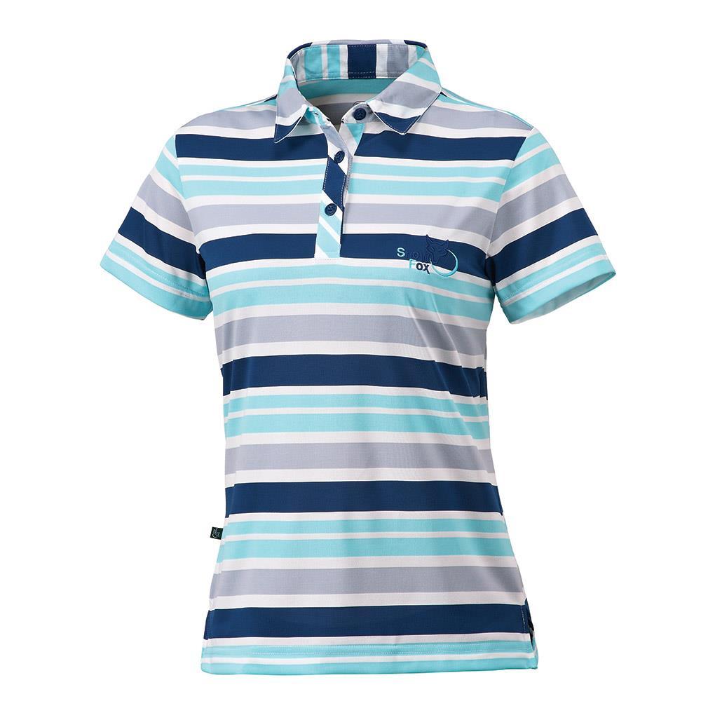 夏日輕衫 女吸濕排汗條紋短袖POLO衫 AL~81408W 白 藍灰條