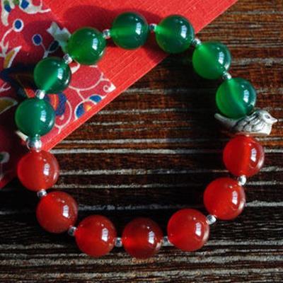 足銀手鏈紅綠配色瑪瑙小鴛鴦