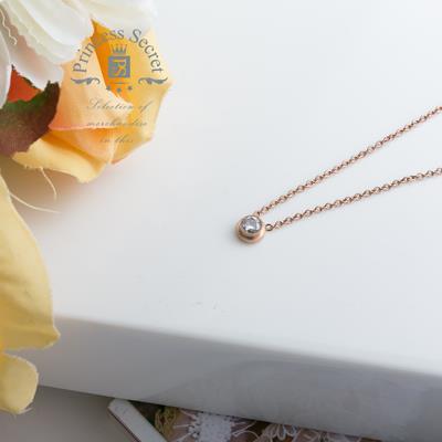 簡約 璀璨鑲鑽玫瑰金項鍊~P~T3N13010507~