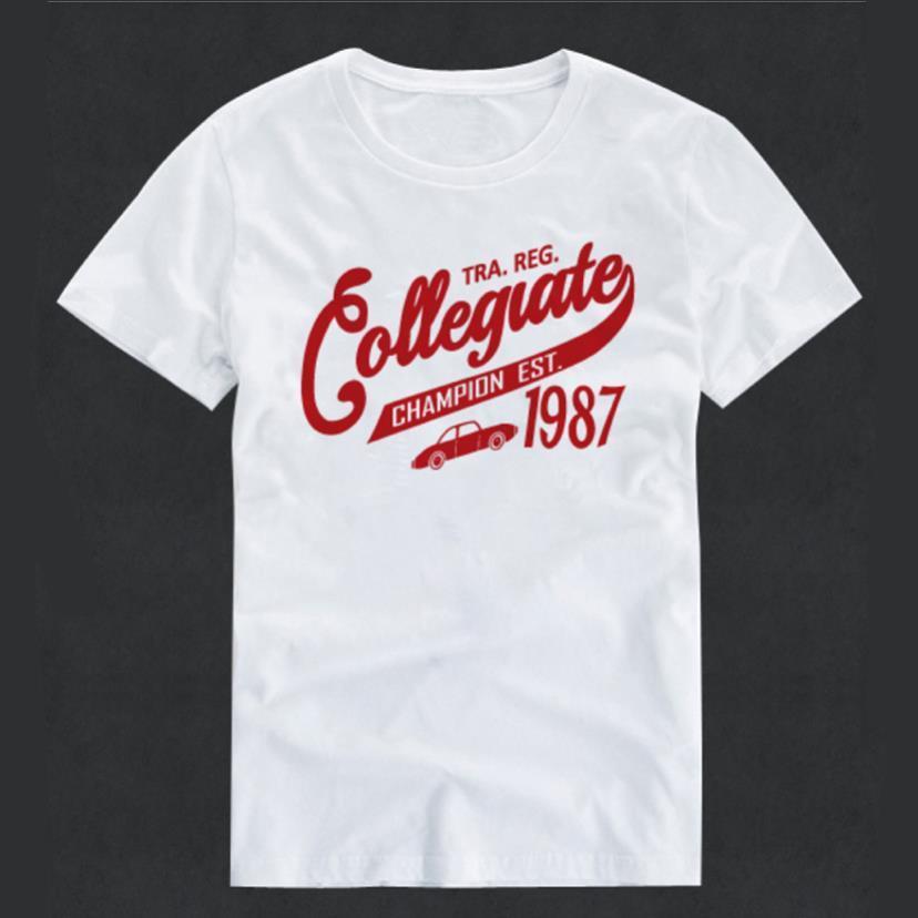 美式復古文字印花短袖T恤