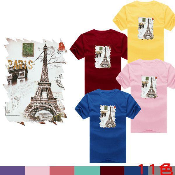 ◆ 出貨◆T恤.情侶裝.班服.MIT 製. 配對情侶裝.客製化.純棉短T.仿舊巴黎風信件~