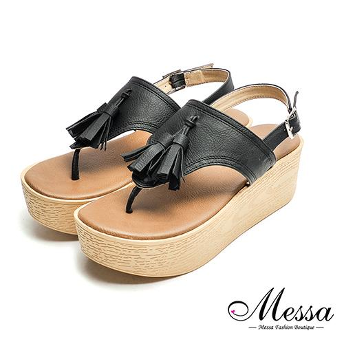 ~Messa米莎專櫃女鞋~MIT波希米亞復古流蘇T字厚底涼鞋~黑色