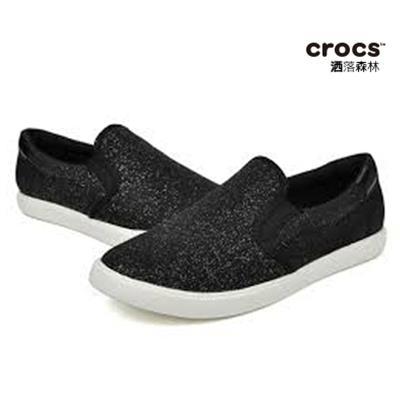 ~Crocs~女士都會街頭便鞋 CitiLane Slip~on Sneaker~黑 珠光