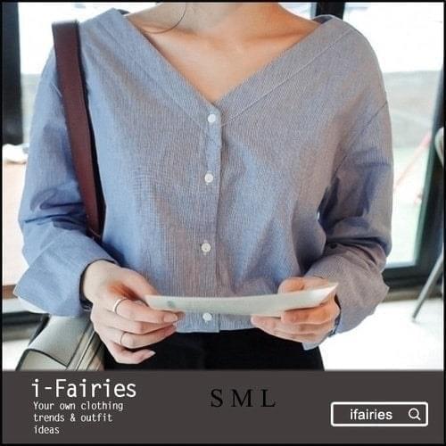 長袖襯衫 單排扣V領細條紋襯衫~SL30756~