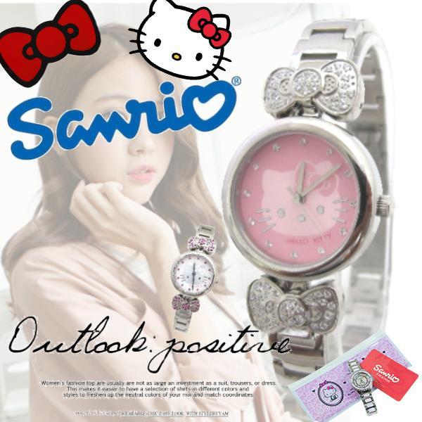 三麗鷗 Hello Kitty 凱蒂貓 女錶 水鑽蝴蝶結 閃耀晶鑽 鋼錶 俏麗 腕錶  贈