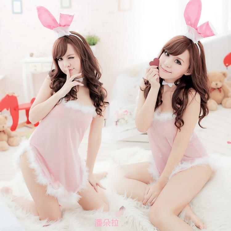 情趣內衣粉嫩制服兔女郎 性感可愛睡裙套裝女透明大碼 1112