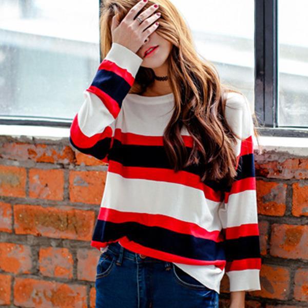 2件399~針織衫~白紅藏青配色粗條紋長袖針織衫 Kiwi Shop奇異果0902~SOF