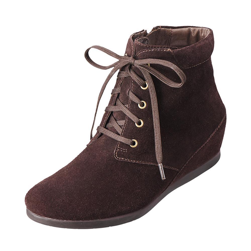 俏麗風格綁帶短靴 沉穩咖K15WF034238 ‧反毛皮‧牛皮~Kimo德國品牌 氣墊鞋