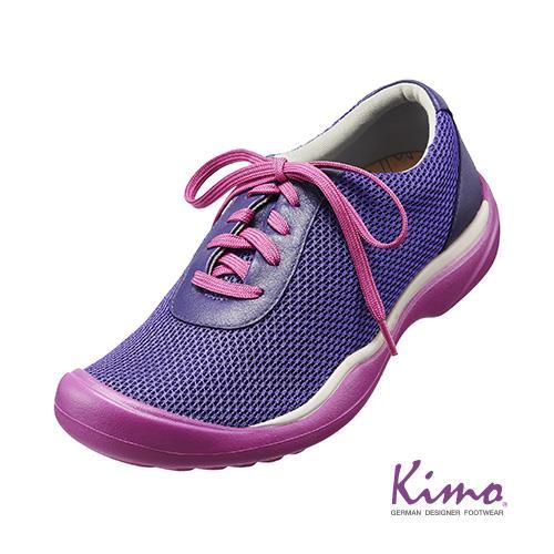 牛皮網布輕量休閒鞋^(魅力紫K15WF073069^).真皮.牛皮.休閒鞋.足弓墊.彈力.
