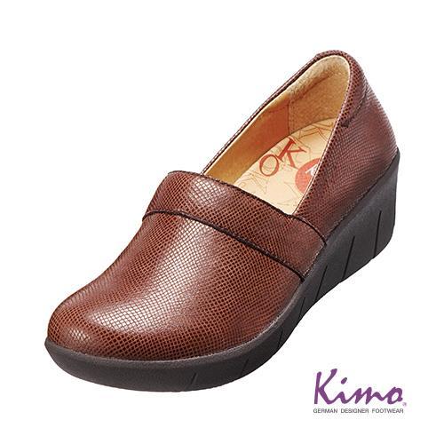 真皮花紋厚底鞋 磚紅咖K15WF077017 .真皮.牛皮.增高.舒適~Kimo德國品牌