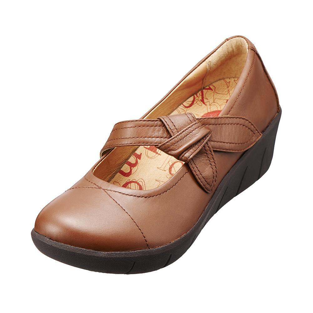 單結飾帶真皮增高鞋 風情棕K15WF077025 ‧牛皮‧吸震大底‧內增高~Kimo德國品