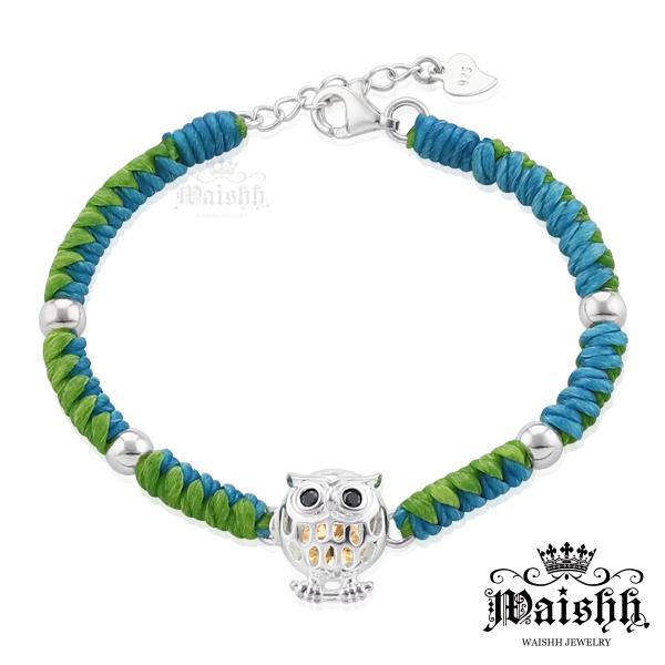 Waishh玩飾不恭~藍綠風情 貓頭鷹~黑眼~925純銀幸運誕生石蠶絲蠟繩手鍊 附贈一顆誕