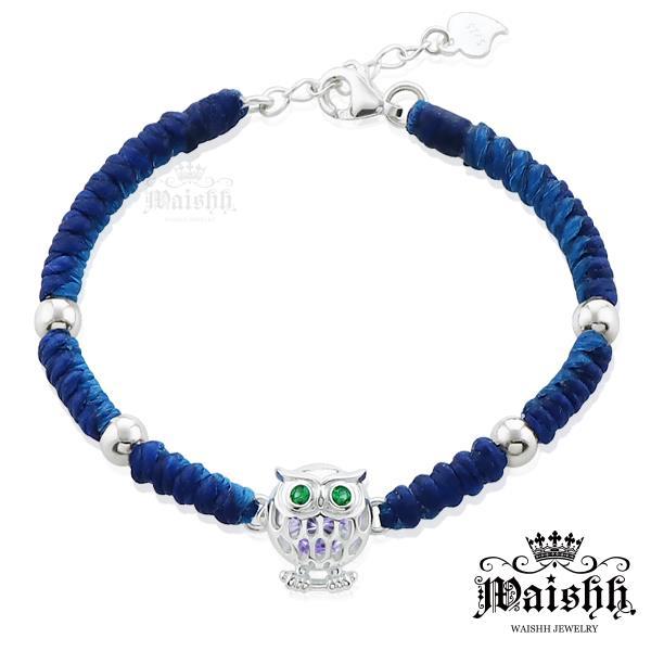 Waishh玩飾不恭~湛藍迷情 貓頭鷹~綠眼~925純銀幸運誕生石蠶絲蠟繩手鍊 附贈一顆誕