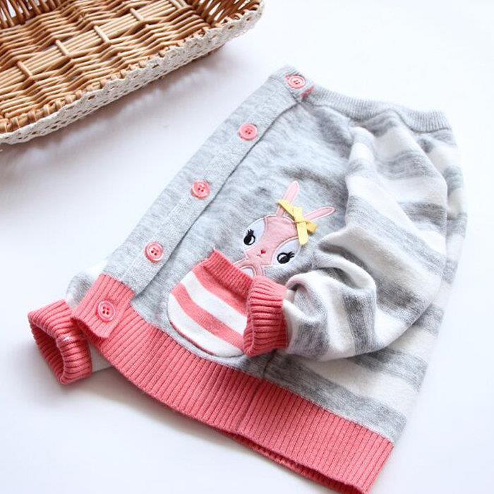 2016秋款條紋小兔兒童寶寶毛衣外套外貿 女童棉線針織開衫