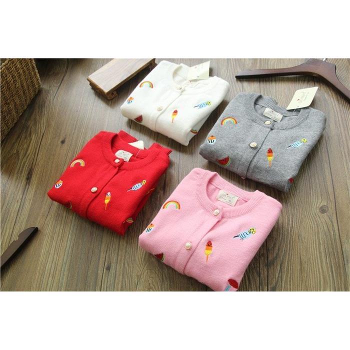 2016秋 外貿 女童圓領刺繡針織氣質開衫兒童單排扣針織小外套