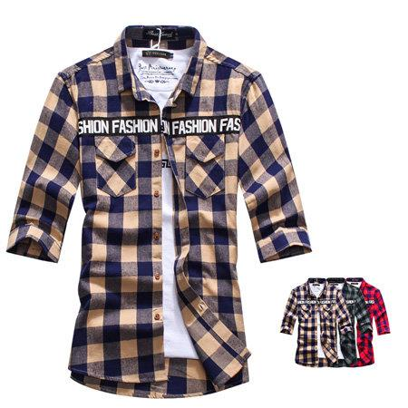 ~BJSK3914~美式 字母 復古 格紋 七分袖 襯衫