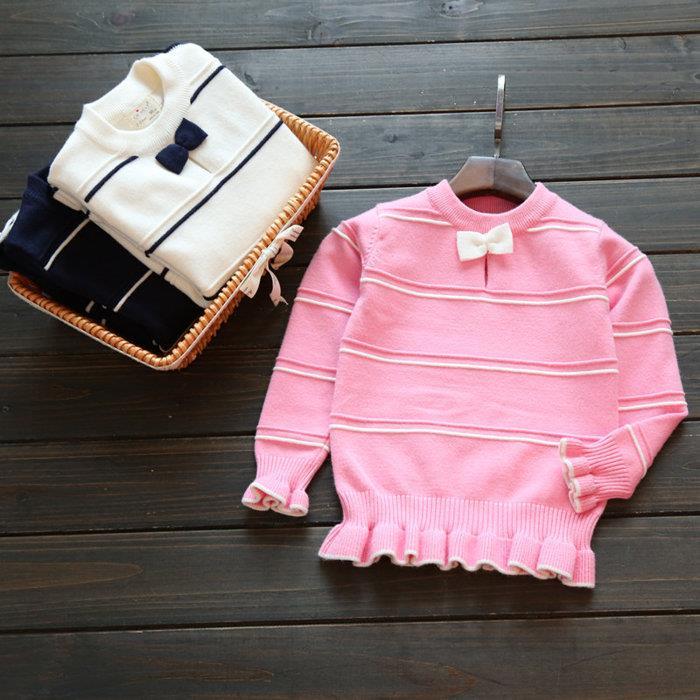 2016年  兒童木耳毛衣女童蝴蝶結條紋針織衫