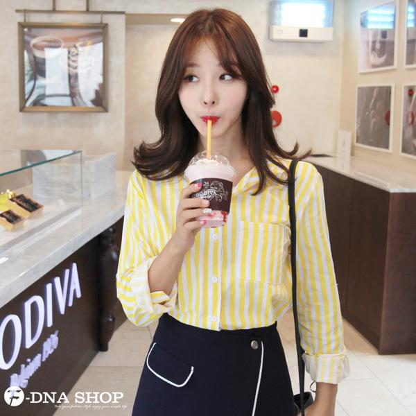 出貨~F~DNA~俏皮糖果色條紋長袖襯衫 2色M~XL ~ESR1736~