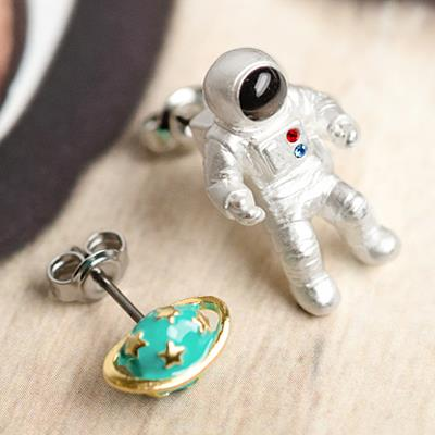 〔APM飾品〕 Gargle 浩瀚星殞宇宙飛行員耳環  抗過敏