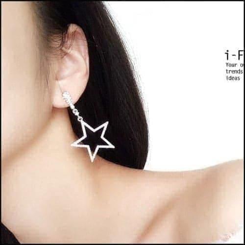 星星月亮鑲鉆耳環甜美長款耳釘~SL32282~