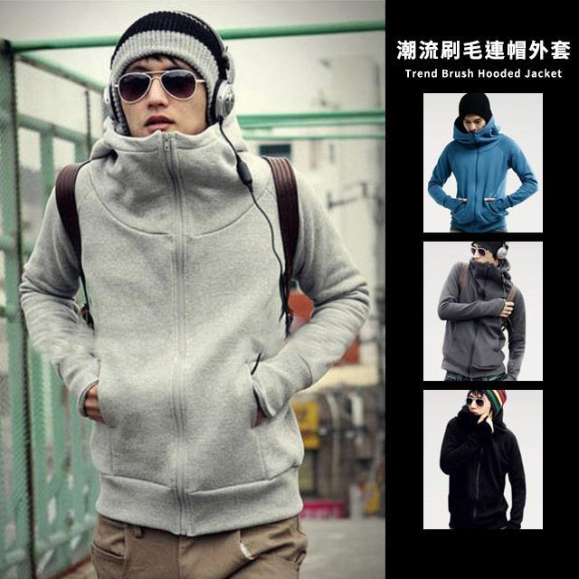 情侶可穿 日 街頭潮流露指加絨 百搭 款素面素色保暖刷毛連帽外套~QPPUK8084~