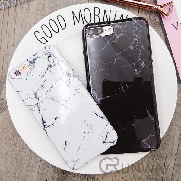 簡約 韓 黑白色 大理石 iPhone 7 Plus 原創 6s 手機殼 軟殼