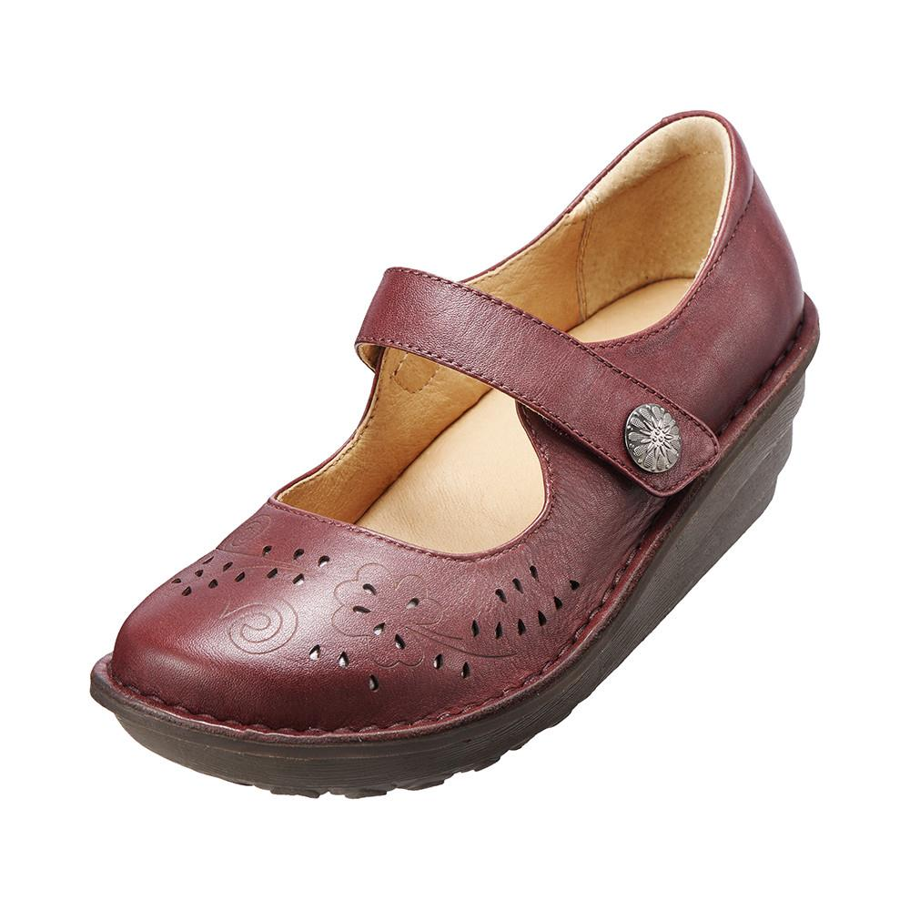 減壓典雅厚底手縫鞋 氣質紅K15WF011587 牛皮‧手縫鞋‧舒適寬楦~Kimo德國品牌