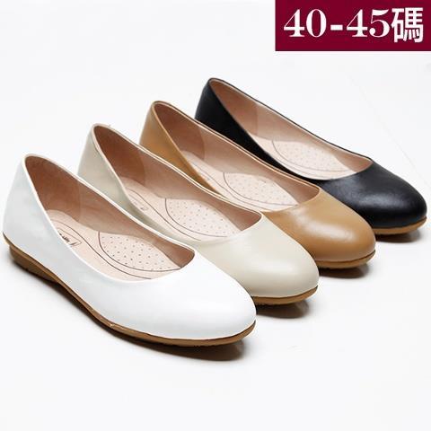中大 女鞋 包鞋 工作鞋 OL通勤系列真皮圓頭素面平底鞋35~45碼 172巷鞋舖~BD4