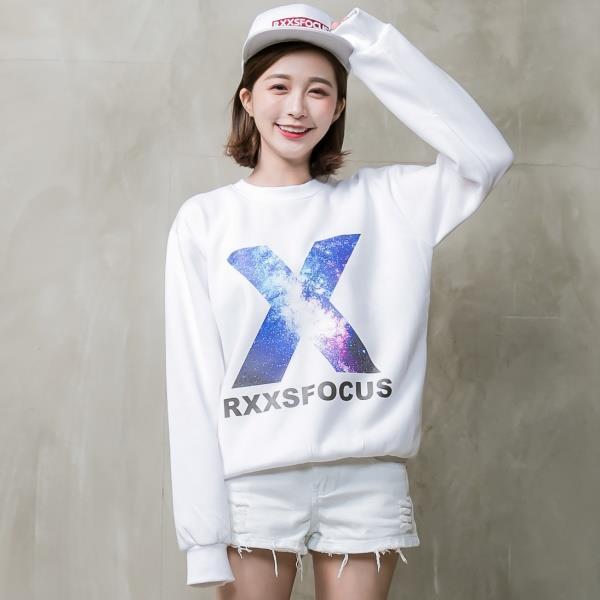 RXXS - 【RXT1010】大X星空字母原宿風刷毛大學T 白色