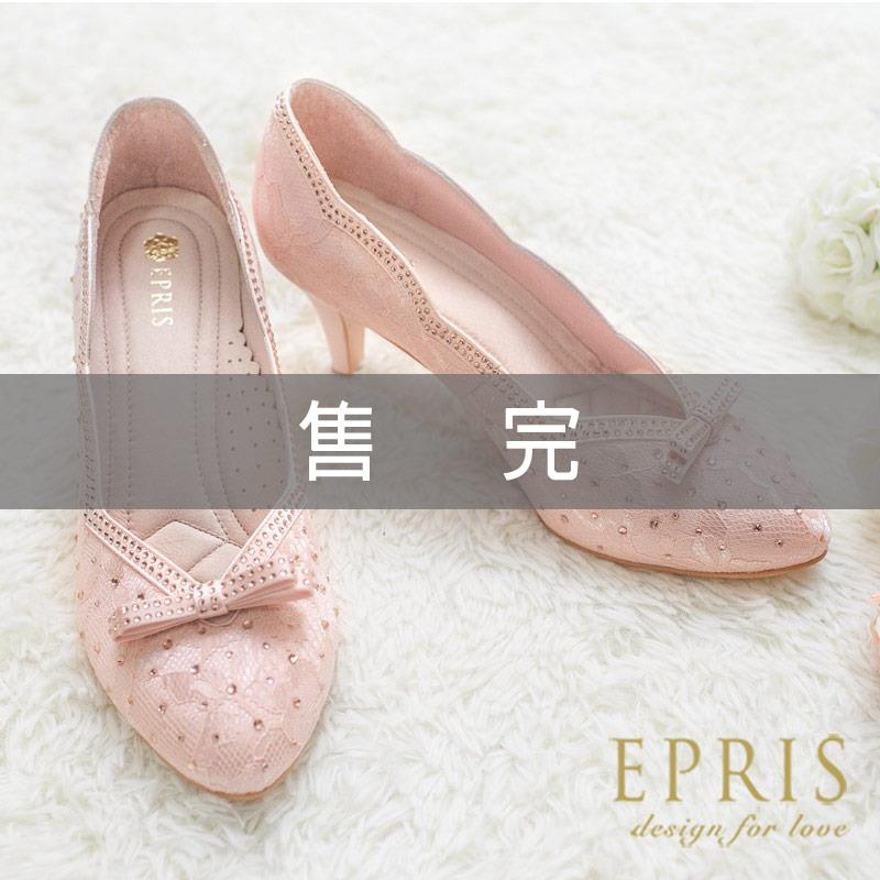 MIT尖頭鞋中跟大中小 雅緻女神 蕾絲水鑽真皮鞋墊跟鞋 20.5~25.5 EPRIS艾佩