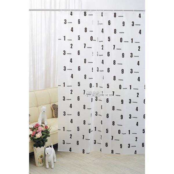 1F006~2數字 180^~200 PEVA浴簾、門簾、窗簾、防水簾、隔間簾、阻擋冷氣、