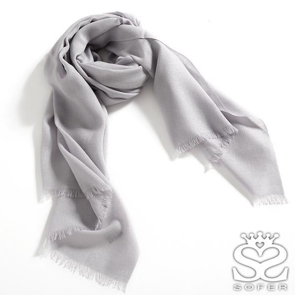 SOFER 素色100%羊毛保暖披肩 圍巾 - 青瓷灰