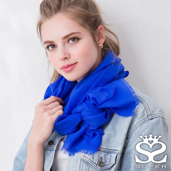 SOFER 素色100^%羊毛保暖披肩 圍巾 ~ 深海藍