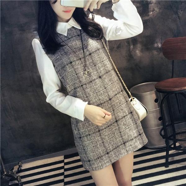 PS Mall 毛呢格子拼接襯衫假兩件連身裙 洋裝~WT4145~