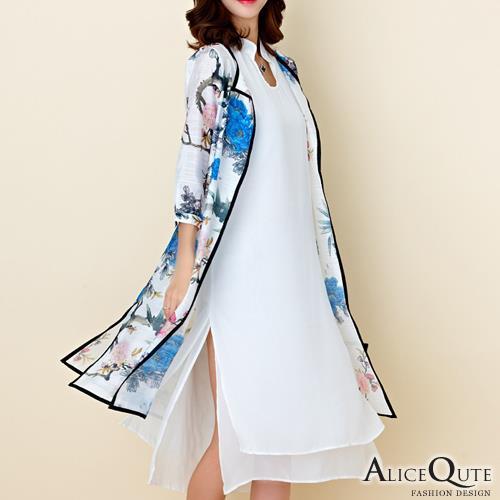 Alice Qute民族風文藝氣質花圖印花旗袍款七分袖兩件式罩衫寬鬆洋裝連身裙 藍色 ~6