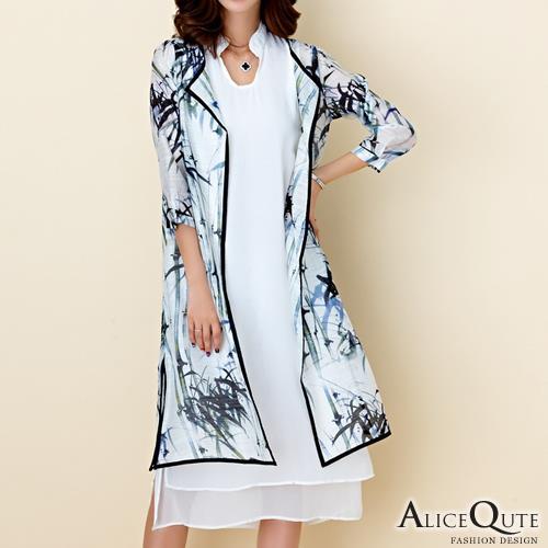 Alice Qute民族風文藝氣質水墨印花旗袍款七分袖兩件式罩衫寬鬆洋裝連身裙 黑色 ~6