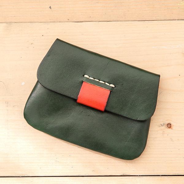 SOFER 全 義大利樹羔皮拼色零錢包 - 森林綠