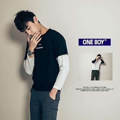 ~ One Boy ~~N21004~ 印花黑白接袖配色假兩件長袖T恤