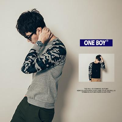 ~ One Boy ~~N95178~休閒 迷彩拼接袖縮口棉質長袖T恤